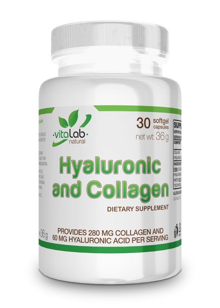 Hyaluronic acid and collagen 30 softgel capsules - Vitalab-Natural