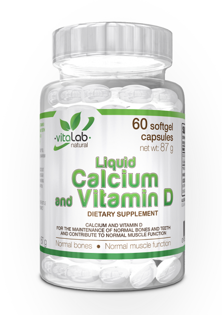 Liquid Calcium and Vitamin D 60 softgel capsules - Vitalab-Natural