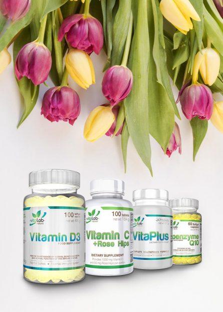 Tavaszváró vitamin csomag - D-Vitamin, C-Vitamin, VitaPlus multivitamin, Koenzim Q10 - Vitalab-Natural